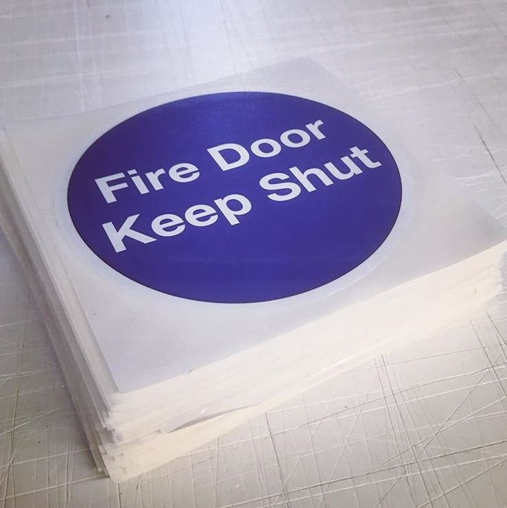 fire door keep shut safety stickers printing.JPG