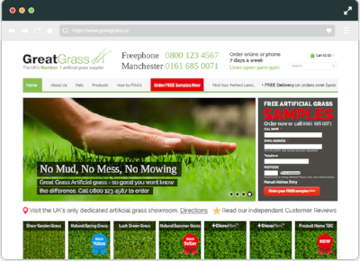 Although the Magento based Great Grass website has had substantial development on the back end to improve customer service, the front end hasn't had a major design overhaul since 2014.