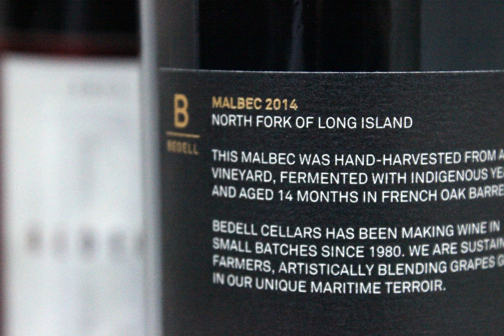 Photo of Bedell Cellars malbec wine label detail