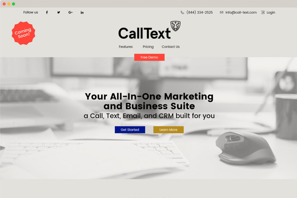 Photo of user interface design for calltext.com