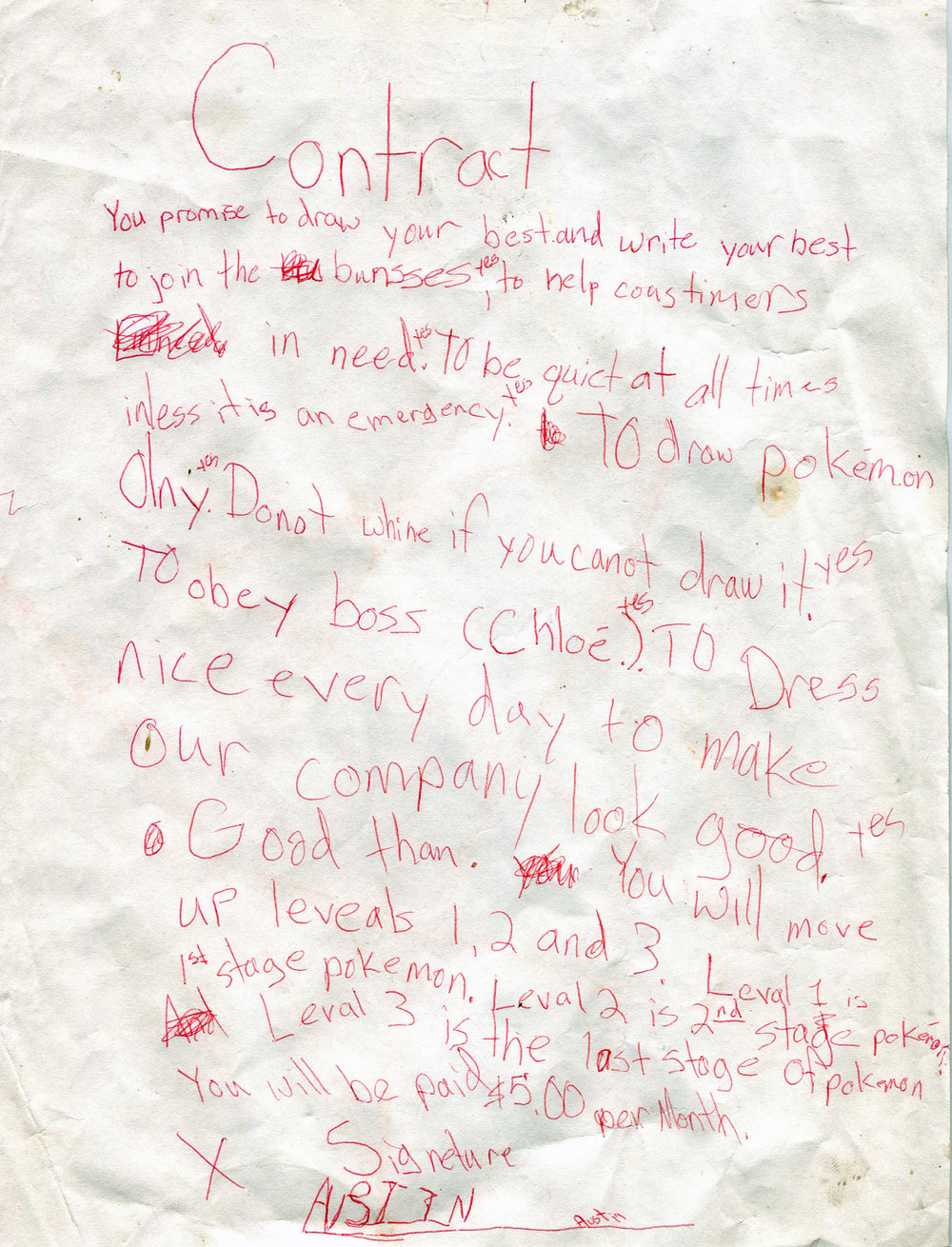 Charlie's first contract, age seven.
