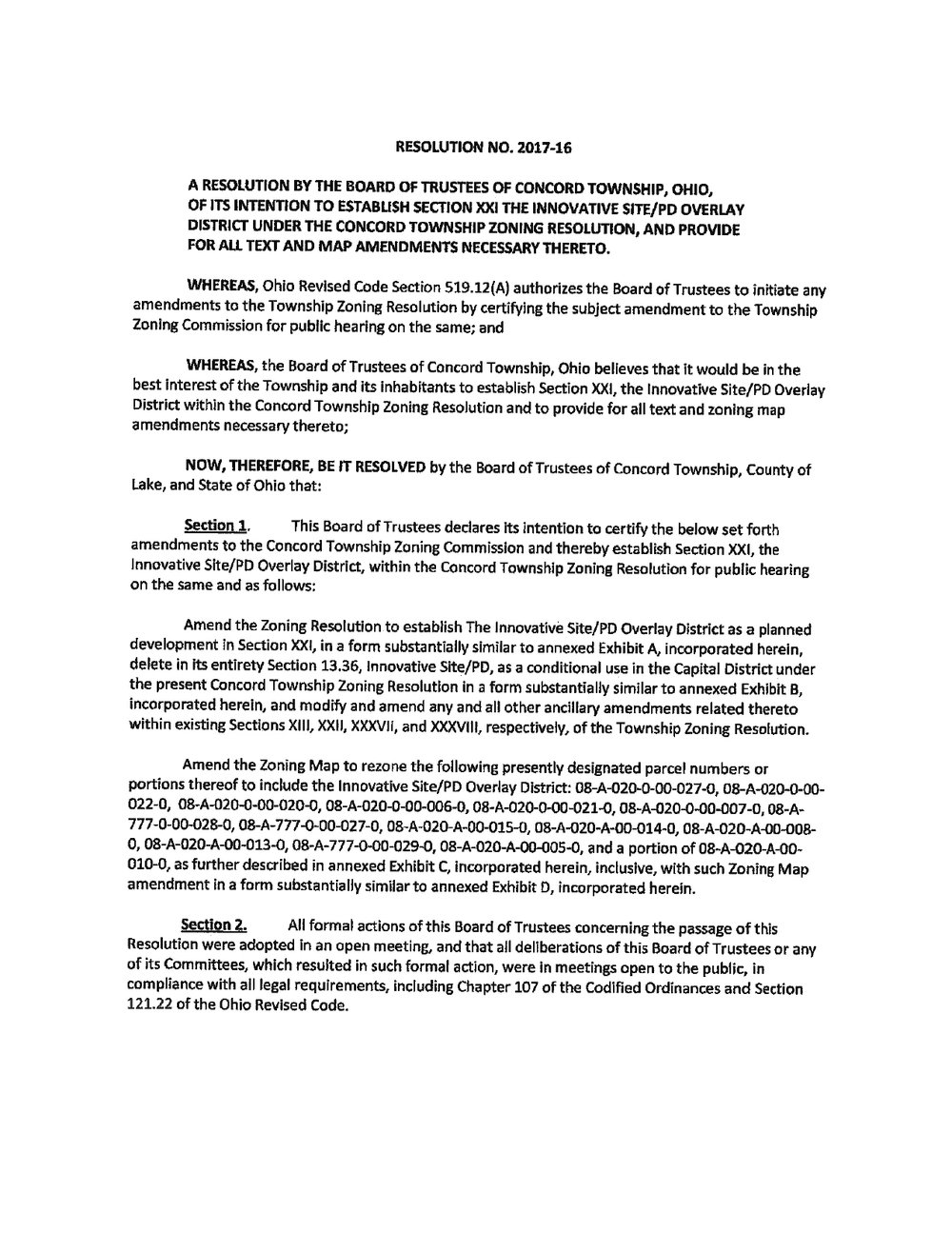 Resolution No_2017-16 w/Exhibits New Zoning Text
