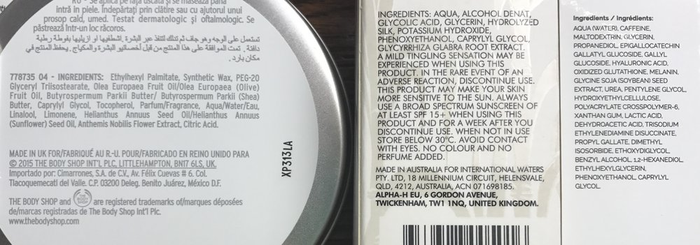 Three labels of products with varying ingredients: (left to right)   The Body Shop Camomile Sumptuous Cleansing Butter, Alpha H Liquid Gold, The Ordinary's Caffiene Solution 5% +EGCG