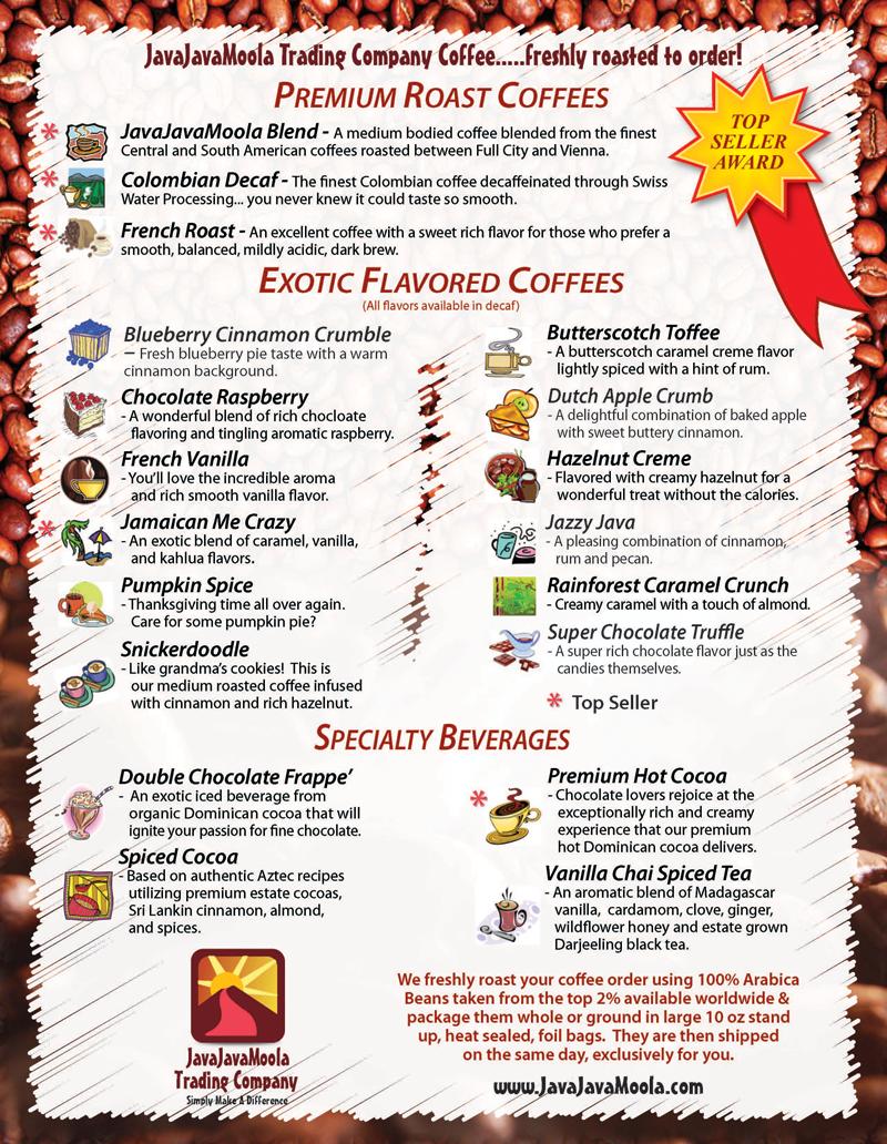 JavaJavaMoola Coffee Selection