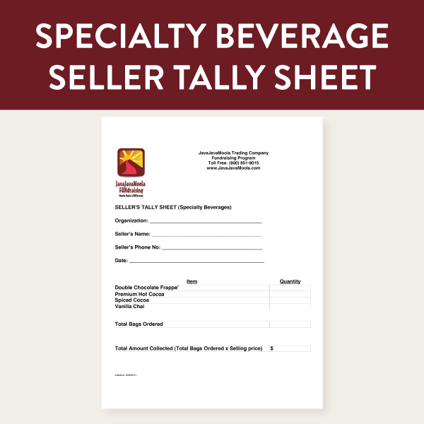 Seller taking specialty beverage orders will consolidate multiple order sheets using this form and then submit it to their coordinator.