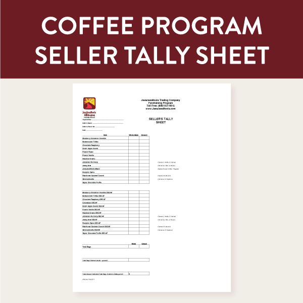Seller taking coffee orders will consolidate multiple order sheets using this form and then submit it to their coordinator.