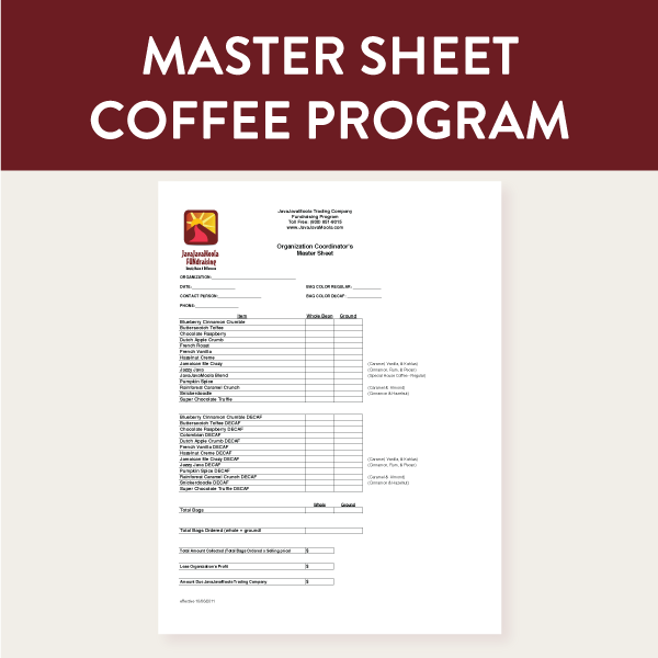 This is the Master Form used by the fundraiser coordinator to submit their organization's coffee order to JavaJavaMoola FUNdraising using the on-line ordering system.