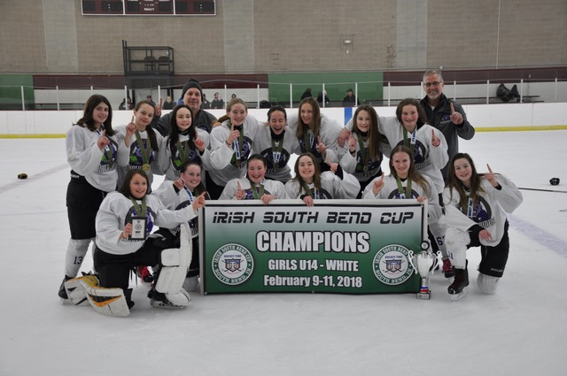 U14 champions at Girls Irish South Bend Cup, Feb 2018