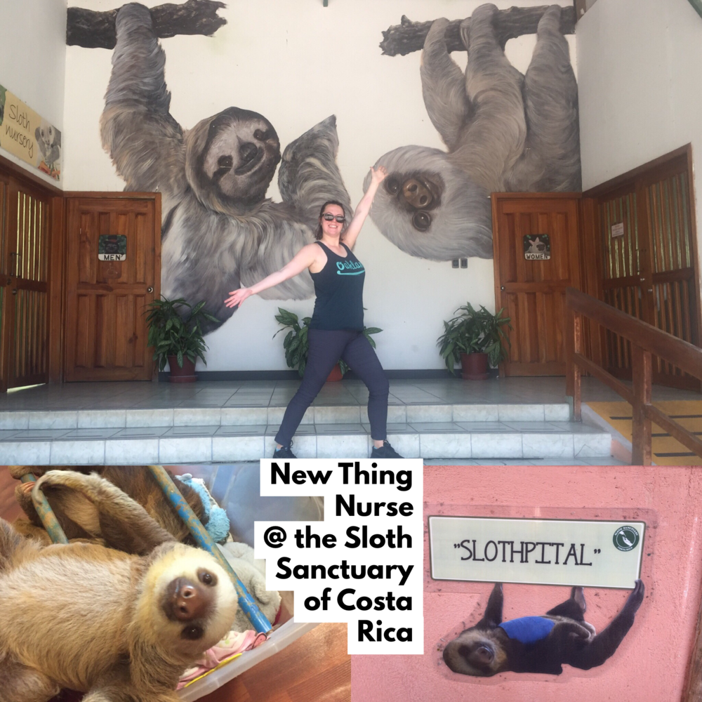 Photo: Sarah, Owner @ New Thing Nurse, poses awkwardly in her excitement to talk about her visit to the Sloth Sanctuary of Costa Rica & their Slothpital.