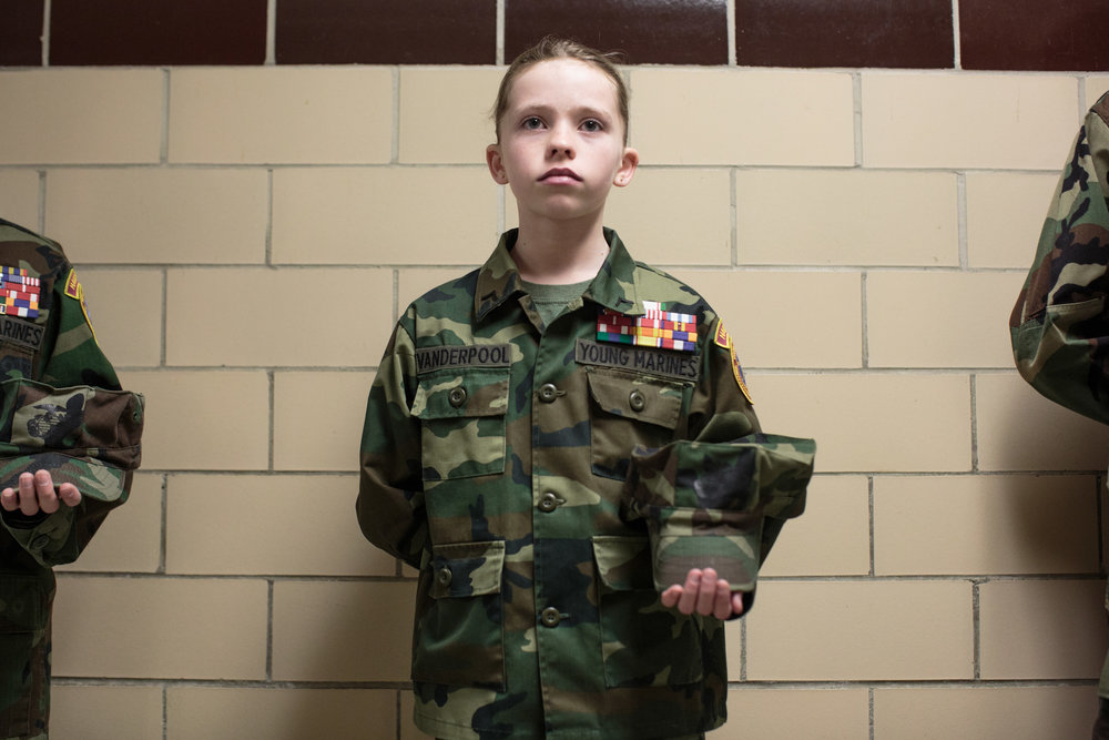 Bailey Vanderpool (11) of the Young Marines attends a meeting focusing on drug awareness, 11 Feb 2017, Hanover, PA. Hanover and the surrounding districts combine for Young Marines meetings, with a total of around 40 students. Nationwide, the youth group has around 300 clubs. The ages range from 8-18. The Young Marines is a not-for-profit organization focusing on youth development in categories such as citizenship, patriotism, and drug-free lifestyles.