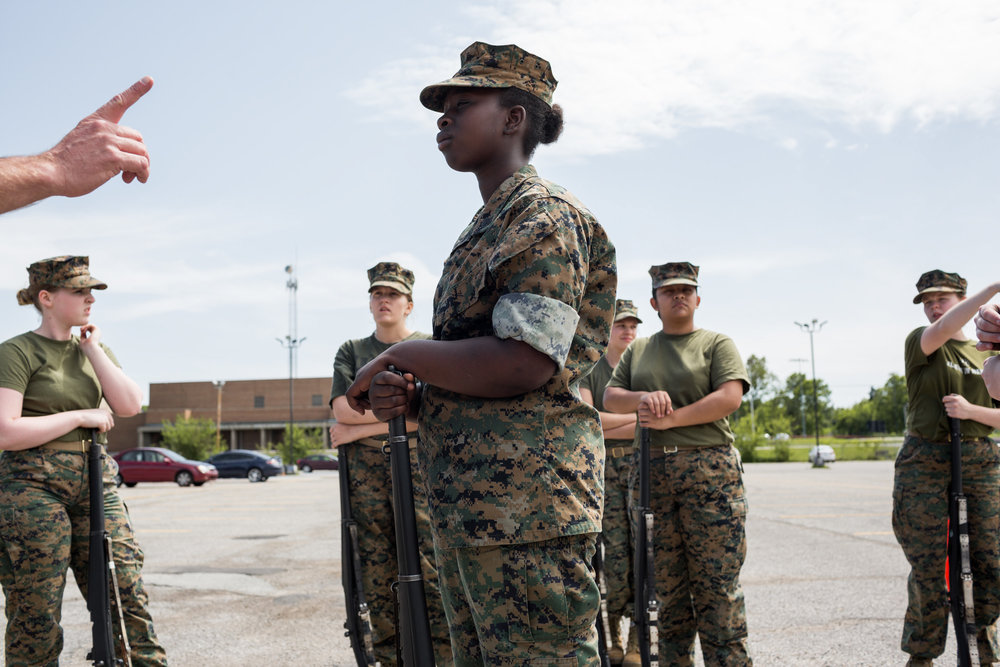 ROTC students from Fern Creek High School practice for a national drill competition happening in Daytona over the weekend, 3 May 2017, Louisville, KY. Their school holds the record, and the pressure is high for the students to keep their reputation.