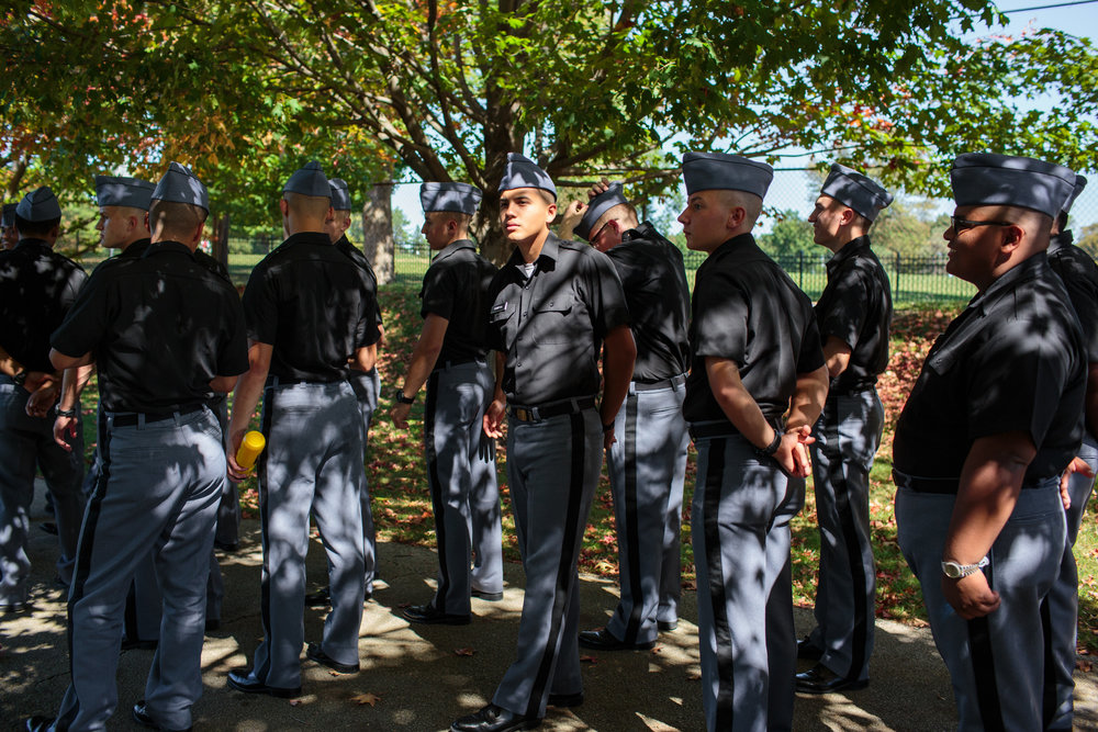 Students from Valley Forge Military Academy at a football game, Wayne, Pennsylvania, 23 Sep 2017. VFMA was established in 1928, and is a private preparatory school for boys in grades 7-12.