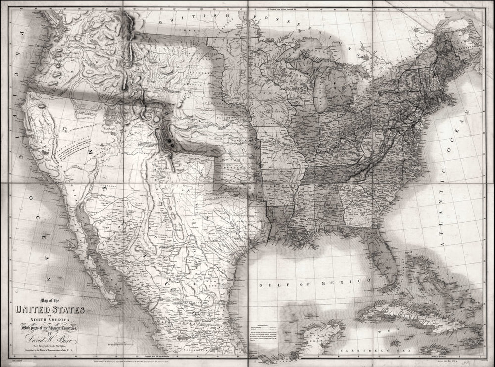 Map of Mexico and the United States in 1839