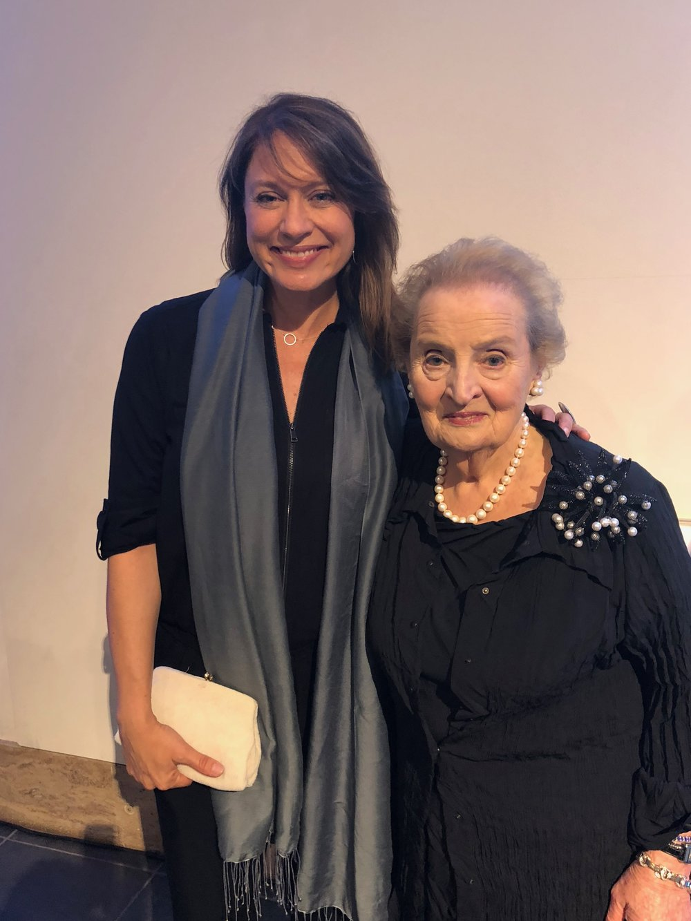 Andrea poses for a photo with Madeleine Albright in Berlin.