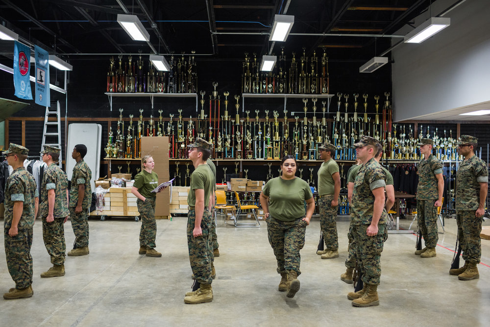 JROTC students from Fern Creek High School practice for a national drill competition happening in Daytona over the weekend, 3 May 2017, Louisville, KY. Their school holds the record, and the pressure is high for the students to keep their reputation.