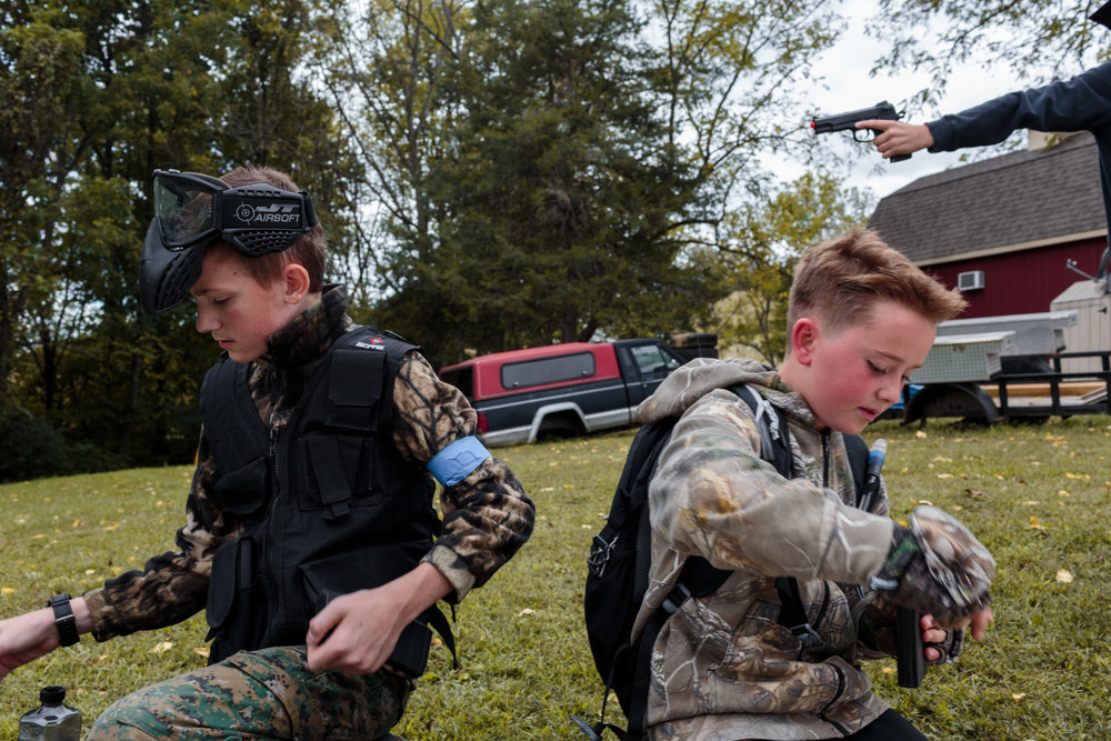 Young Marines attend an airsoft competition in Hanover, PA, 30 Sep 2017. The weekend encampement is solely for games: the Young Marines do not teach tactical skills, and are not a paramilitary group. The encampment includes a day of air-soft competition, campfires, camping out, and cooking.