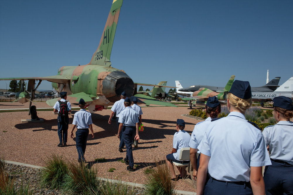 After physical training and breakfast, students spend the late morning at the South Dakota Air and Space Museum, located on Ellsworth AFB, to tour aircraft and aviation exhibits, Rapid City, South Dakoa, 13 July 2017. Students from five states around the Midwest spend a week at the Civil Air Patrol Joint Dakota EncampmentThe age range is 12-18, with around 60 students in attendance.