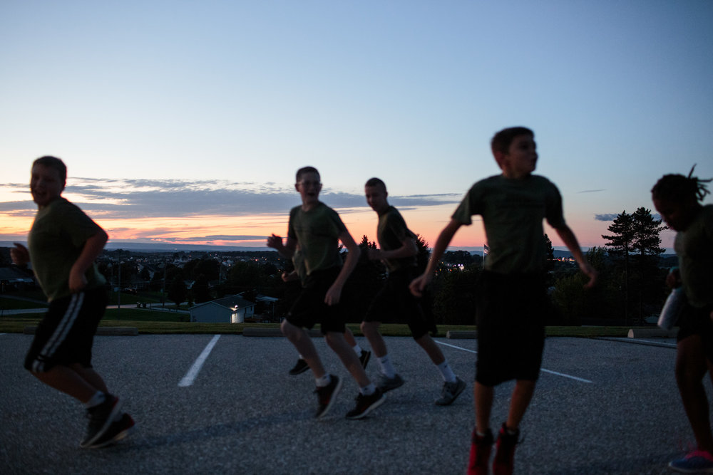 Young Marines undergo a physical fitness drill in Hanover, PA, 8 Sep 2017.