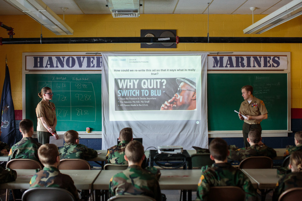 Young Marines attend a meeting focusing on drug awareness, 11 Feb 2017, Hanover, PA. Hanover and the surrounding districts combine for Young Marines meetings, with a total of around 40 students. Nationwide, the youth group has around 300 clubs. The ages range from 8-18. The Young Marines is a not-for-profit organization focusing on youth development in categories such as citizenship, patriotism, and drug-free lifestyles.