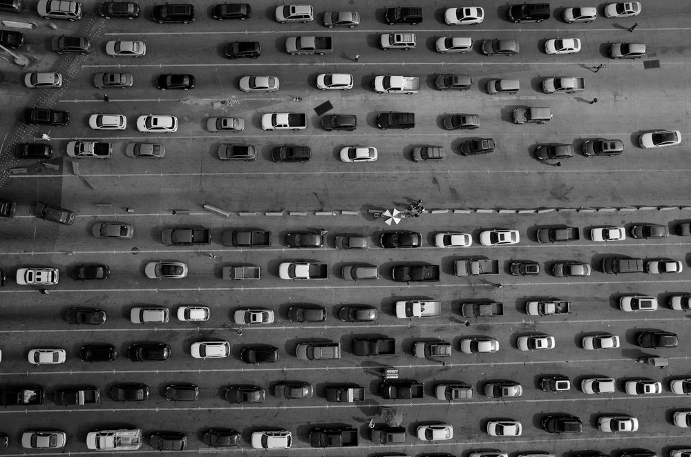 Lanes of cars line up at the Mexico-U.S. border at the port of entry at San Ysidro, California and Tijuana, Baja California. The port is the largest land border crossing point in the world.