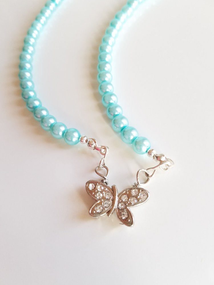 Butterfly pendant necklace with blue glass beads seeclairety butterfly pendant necklace with blue glass beads aloadofball Choice Image