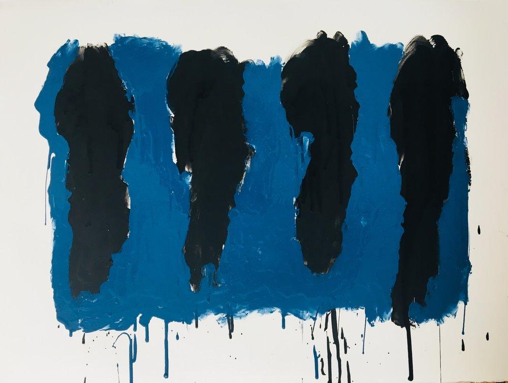 Four Black Bars on Blue