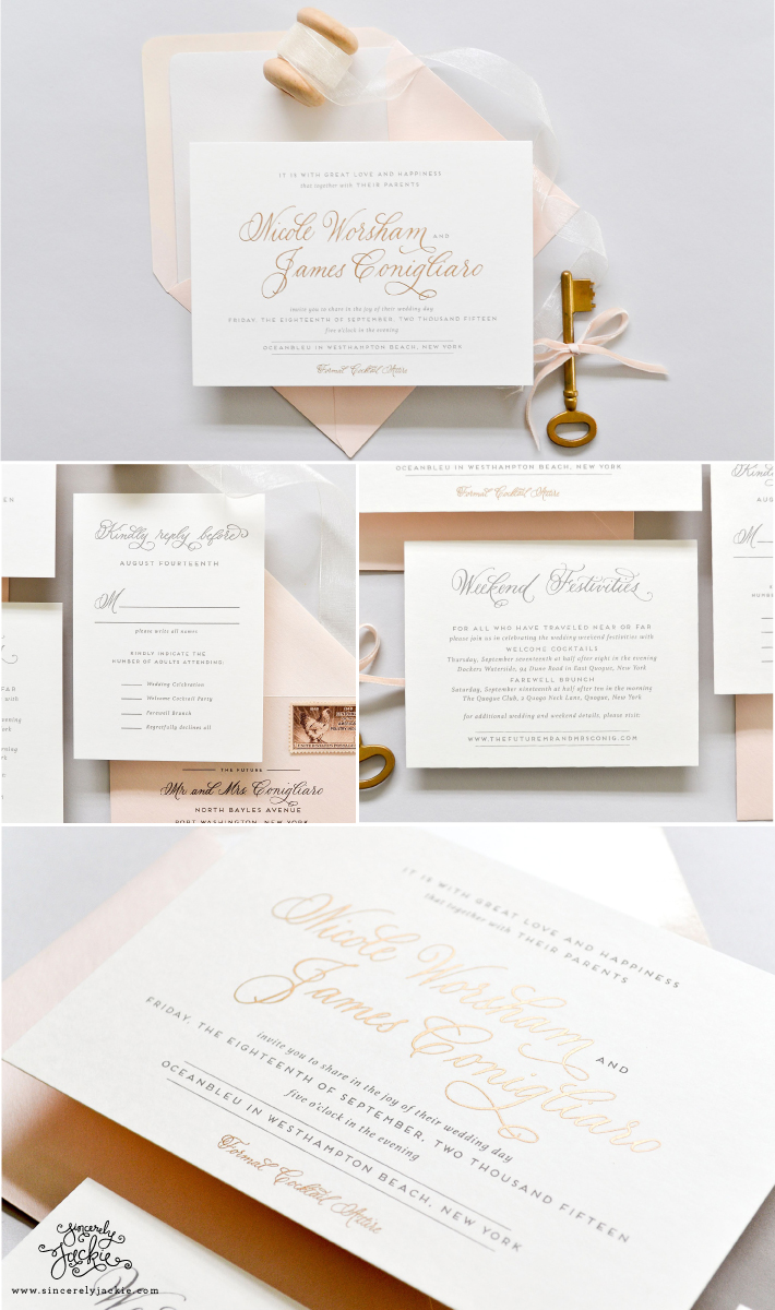 HEIRLOOM HIGHLIGHT - HAMPTON, GOLD AND GREY WEDDING INVITATION ...