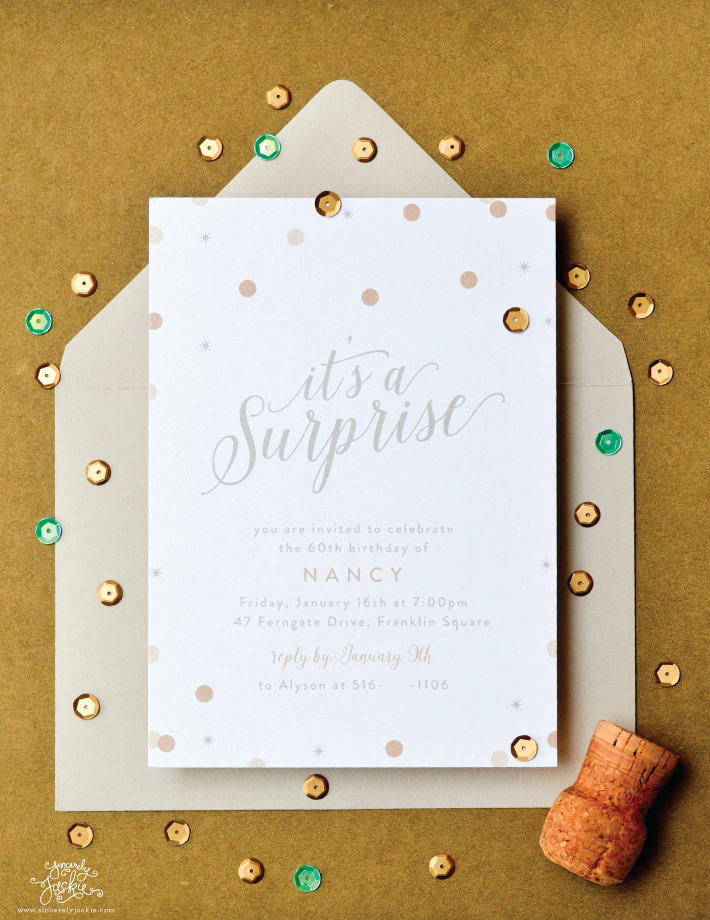heirloom highlight shimmer confetti surprise party invitations
