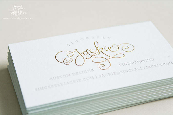 sincerely jackie business cards - Engraved Business Cards