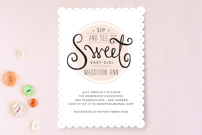 exclusively on minted sweet token baby shower sip and see
