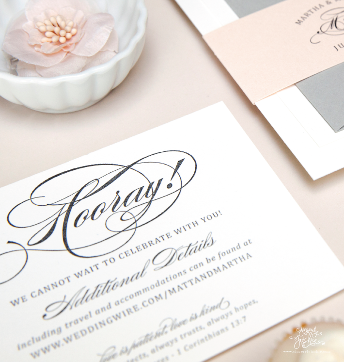 Heirloom Highlight: Classic Pink and Grey Letterpress Wedding ...