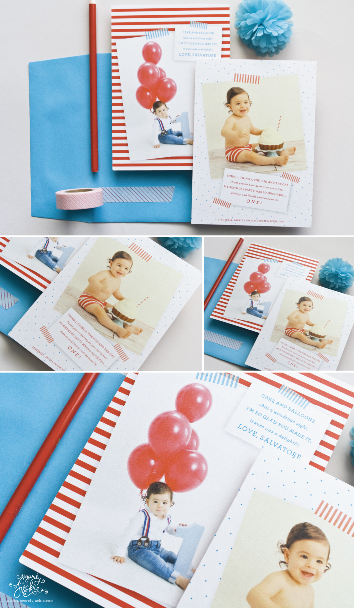 Dr seuss inspired first birthday thank you cards sincerely baby salvatores parents emily sal threw an incredible party inspired by dr seuss and asked that the thank you cards kept with the same theme bookmarktalkfo Image collections