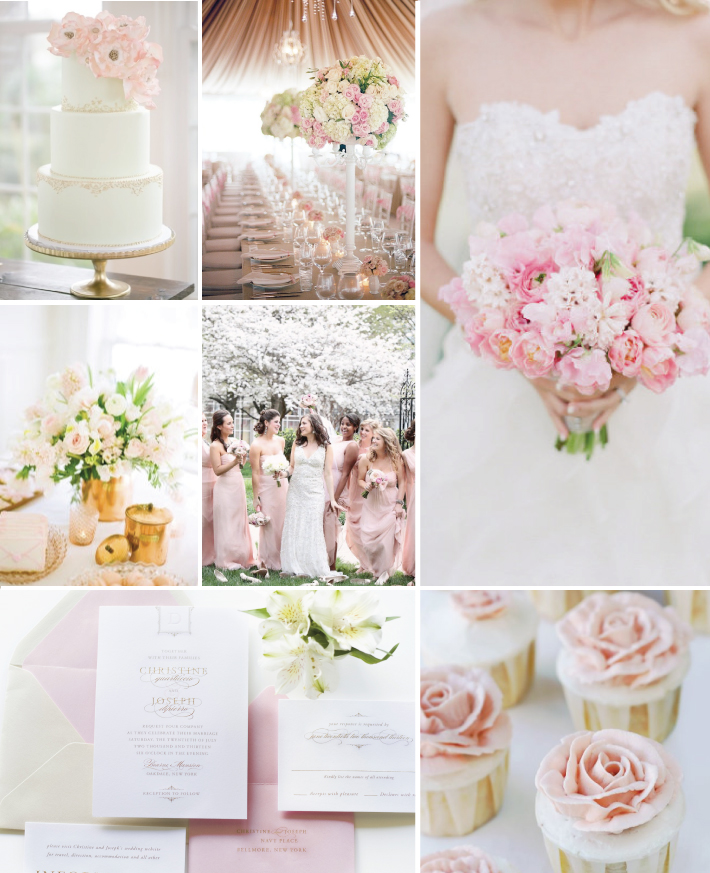 Pink and gold wedding inspiration sincerely jackie long island clockwise from top left pink and gold cake by the sugar suite tented pink wedding with tall flower center pieces from the bridal guide bridal gown and junglespirit Choice Image