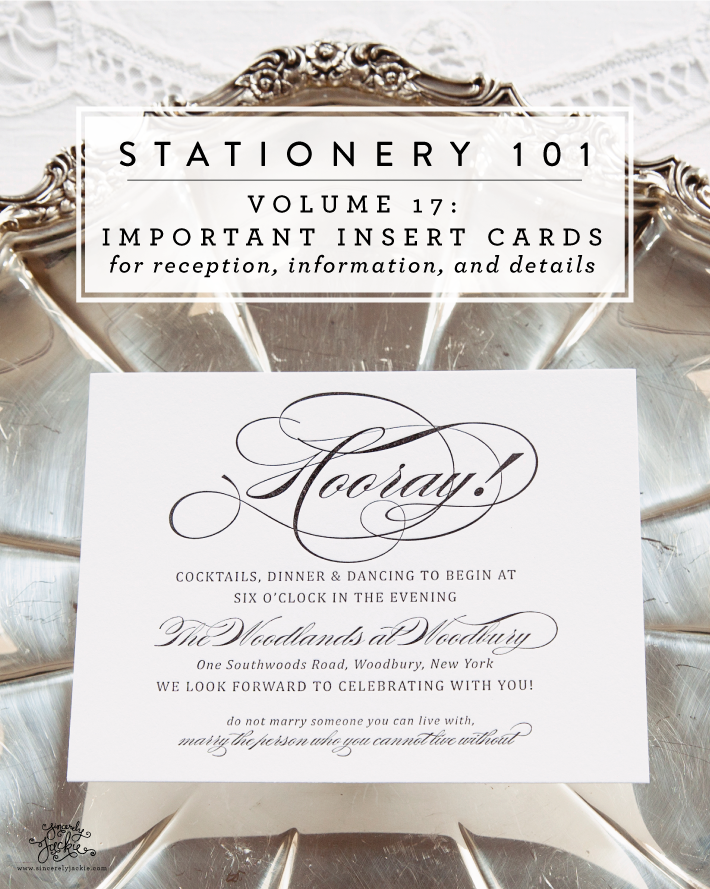 stationery 101 volume 17 invitation insert cards sincerely