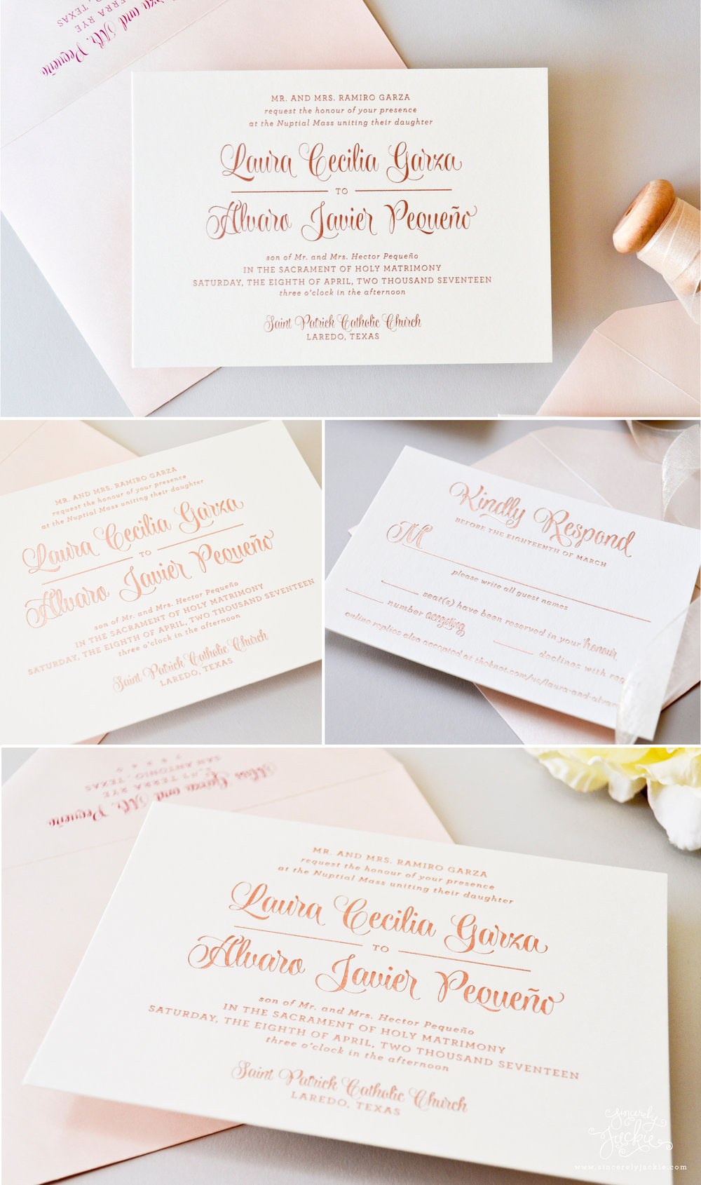 HEIRLOOM HIGHLIGHT: LAURA\'S ROSE GOLD FOIL WEDDING INVITATIONS FOR A ...