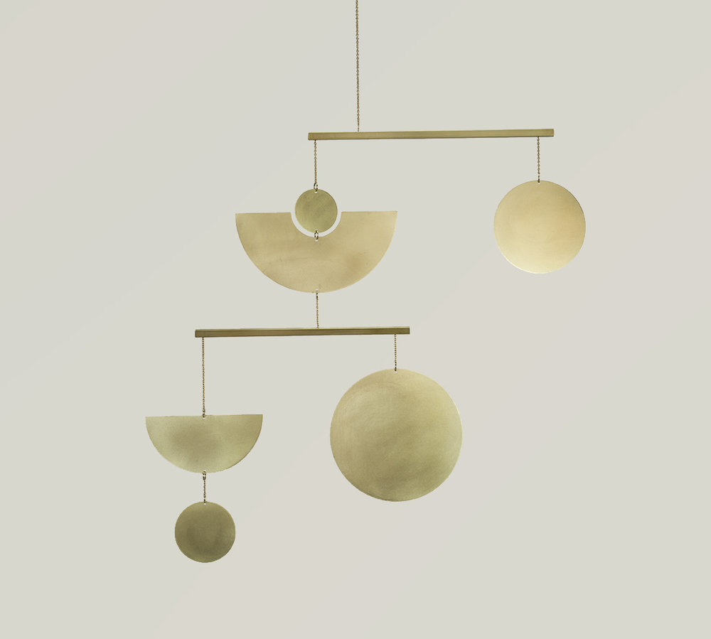 Geometric Brass Kinetic Mobile