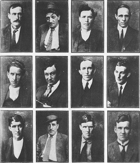 ABOVE: The 'IWW Twelve': John Hamilton, Peter Larkin, Joseph Fagin, Wm. Teen, Donald Grant, Benjamin King, Thomas Glynn, Donald McPherson, Thomas Moore, Charles Reeve, William Beattie, B.Bob Besant.