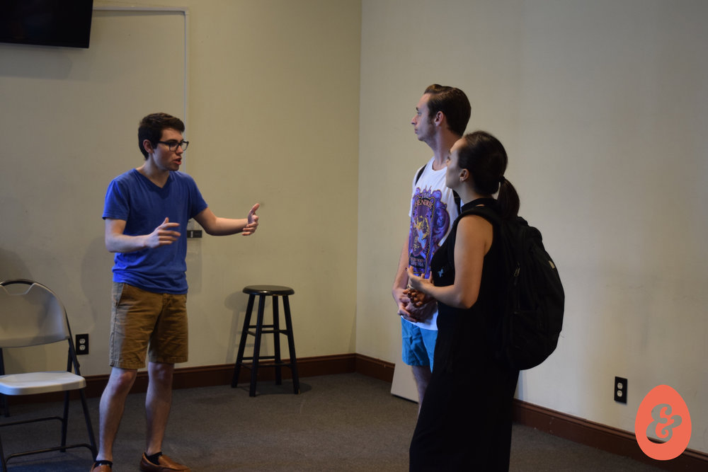 Artistic Director Liam Lonegan in rehearsal with Julián Garnik and Bryn Dolan