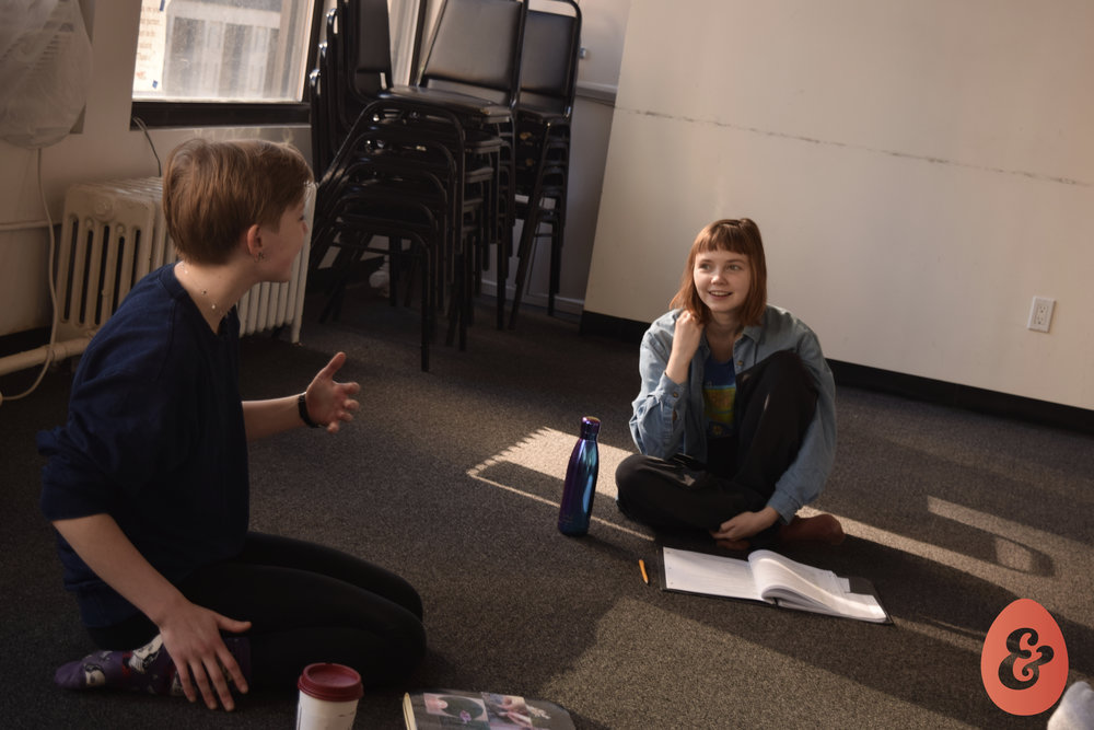 Director Catherine Giddings and Calley Luman in rehearsal