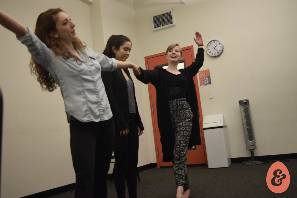 Kylie Holloway, Kiarra Goldberg and director Catherine Giddings in rehearsal