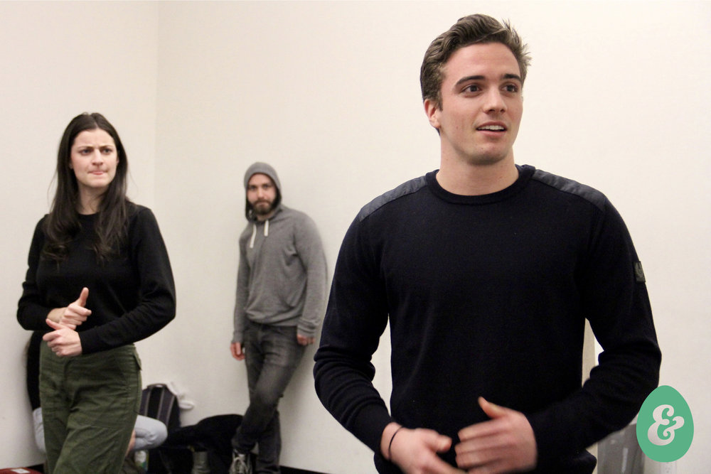 Melissa Beaird, Tom Hayes and Harry Plumptre in rehearsal. Photo by Christopher Michael Milligan.