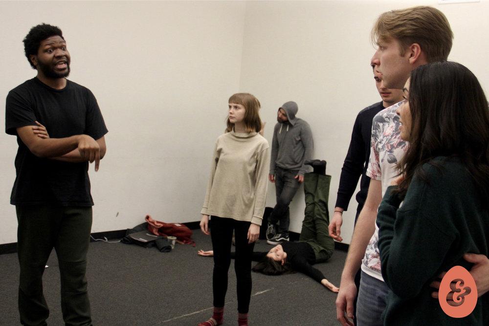 Kentrell Loftin, Calley Luman, Alex Settineri and Kiarra Goldberg in rehearsal.Photo by Christopher Michael Milligan.