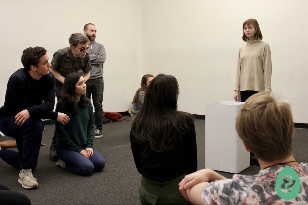 Cast of A DREAM PLAY in rehearsal. Photo by Christopher Michael Milligan.