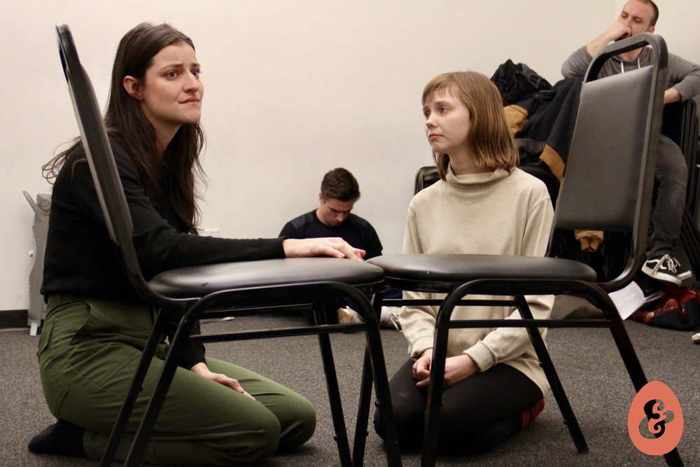 Melissa Beaird and Calley Luman in rehearsal. Photo by Christopher Michael Milligan.