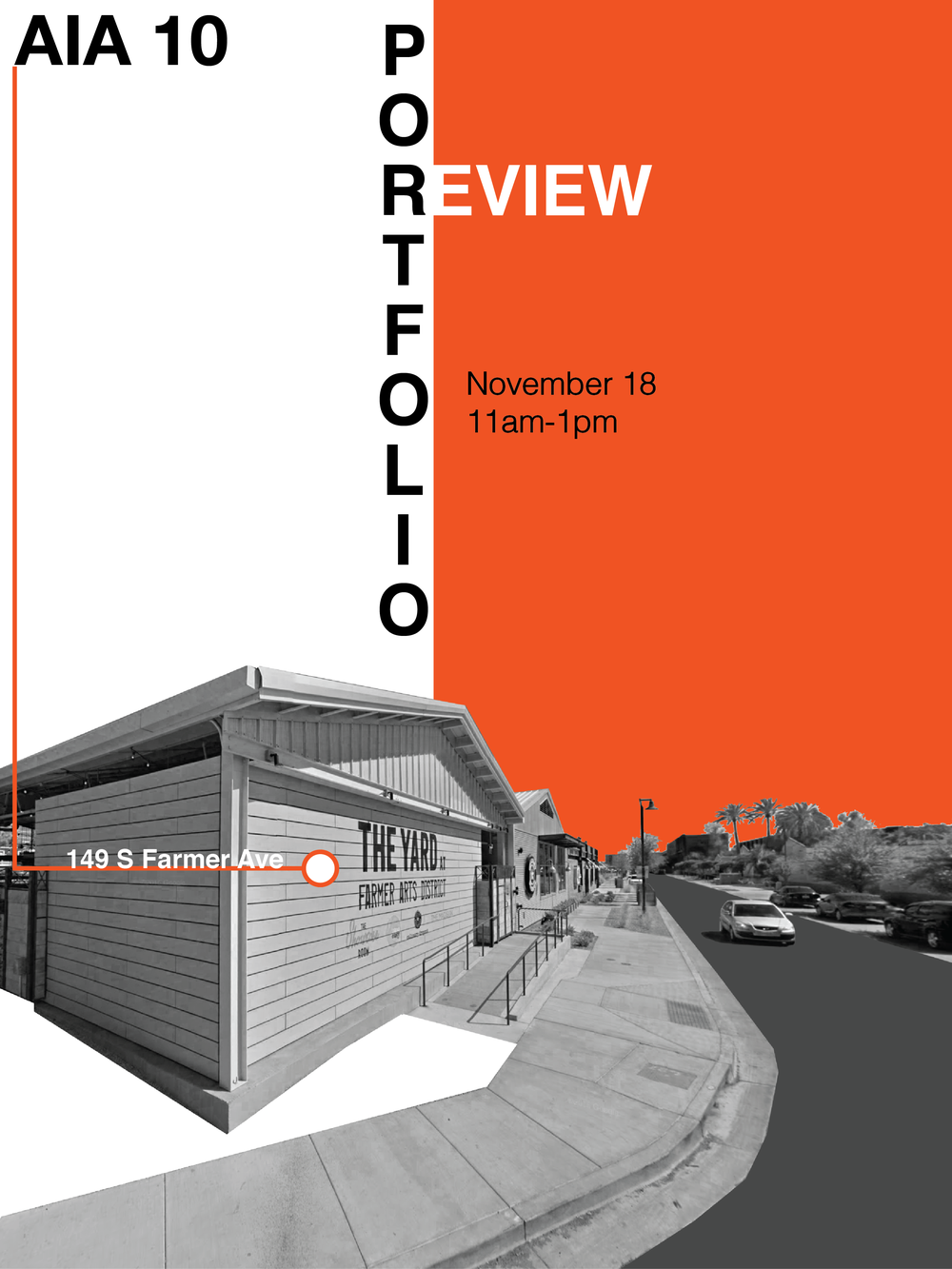 Portfolio Review - Informative poster for the American Institute of Architecture Students (ASU chapter) that brought together students and professionals to aid to portfolio advice as, well as, lunch at the Yard in Tempe.