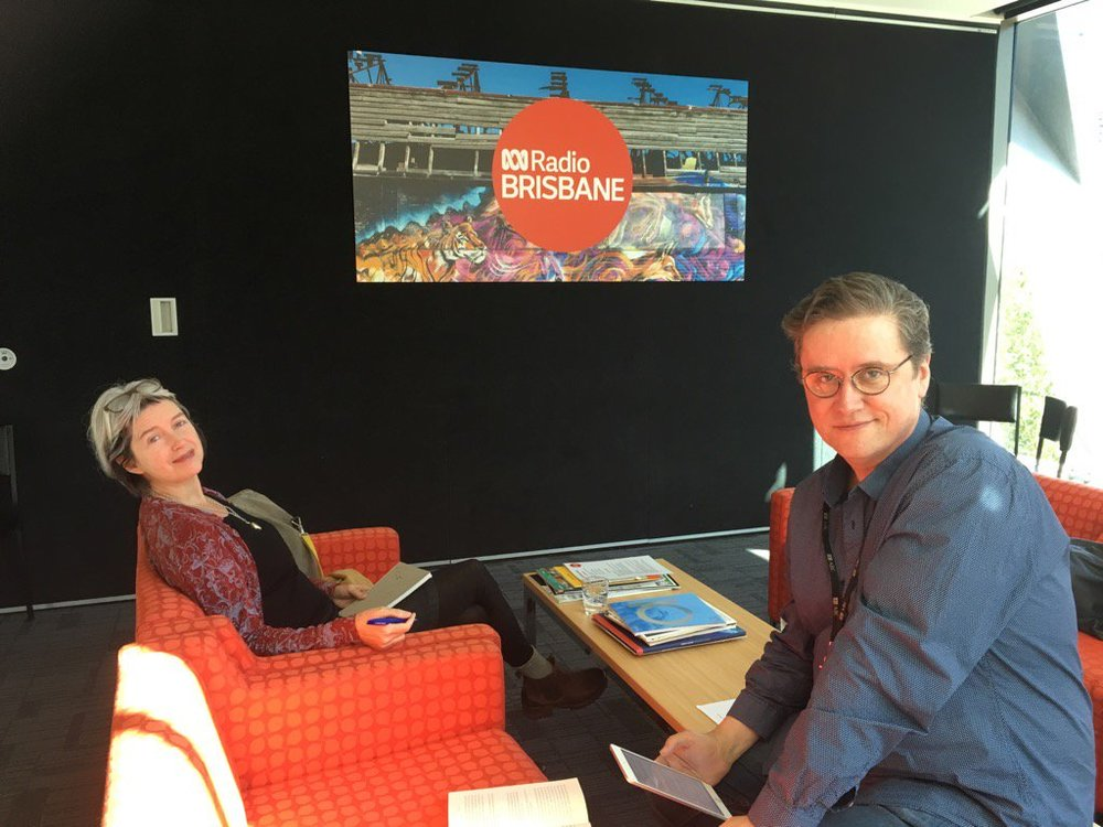 In the green room (actually orange) with Richard Fidler, ABC Radio National