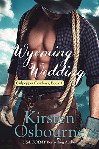 Wyoming Wedding (Book 1) by Kirsten Osbourne - Karlan Culpepper has worked his entire adult life, and most of his youth, to build up the ranch he knew he would someday inherit. When his grandfather dies, and the terms of his inheritance include he and his three brothers marrying within six months, and at least one of them having a baby on the way within the year, things get trickier. Contacting Dr. Lachele Simpson, a professional matchmaker, seemed the only way to go! Hope, the oldest of the Quinlan Quadruplets needs nothing more than to get out from under her parents' roof, and take her sisters with her. She feels stifled, and she wants more than anything to marry. After a long weekend of testing, the four sisters embark on a road trip that would change their lives. Hope quickly agrees to marry Karlan, one of the four brothers waiting for her and her sisters in Wyoming. Will they be able to make their marriage work? Or should they have waited to get to know one another a little better like all their siblings had?