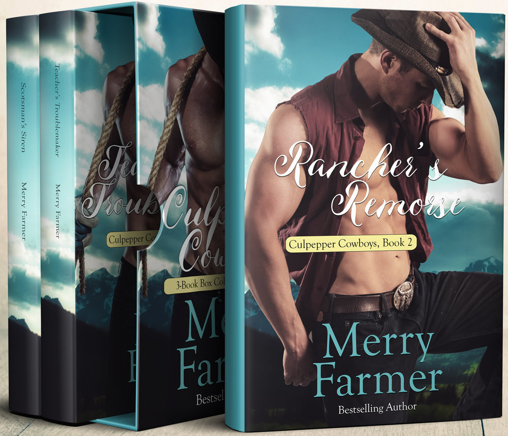 Culpepper Cowboys Compendium (Volume 1) - Now available together in one set! The first three of Merry Farmer's Culpepper Cowboys books!The box set includes: Rancher's Remorse, Teacher's Troublemaker, and Scotsman's SirenPLEASE BE ADVISED – Steam level - Hot