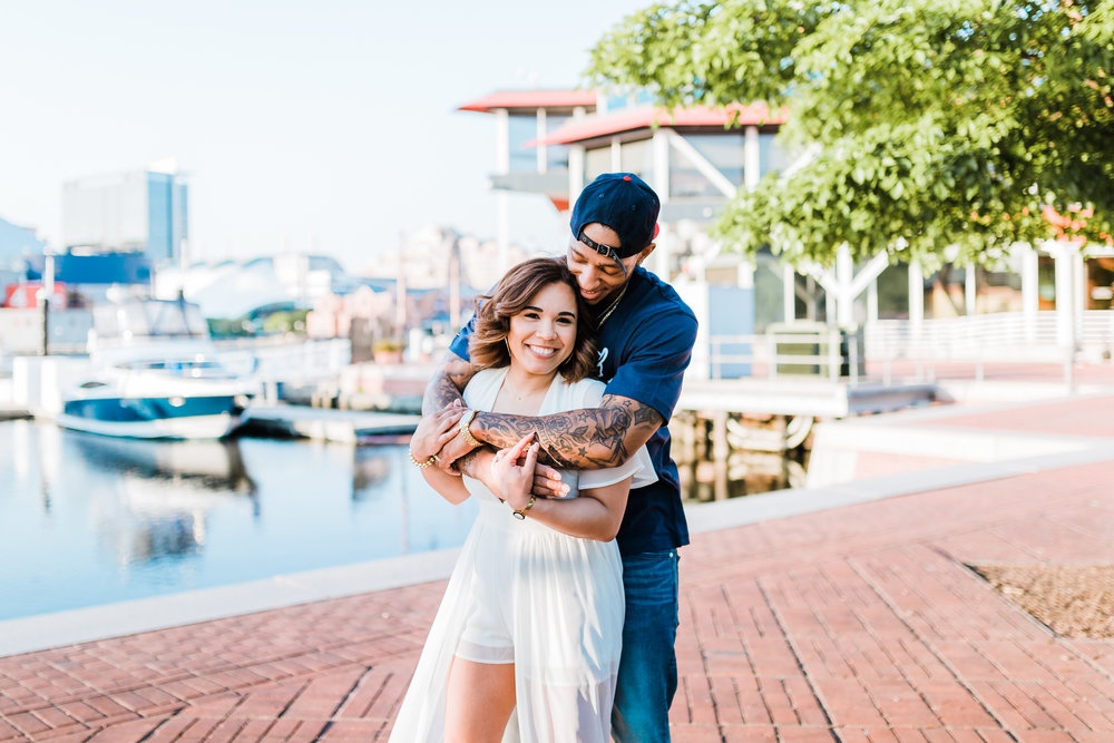 bride and groom hugging for their engagement session in baltimore md