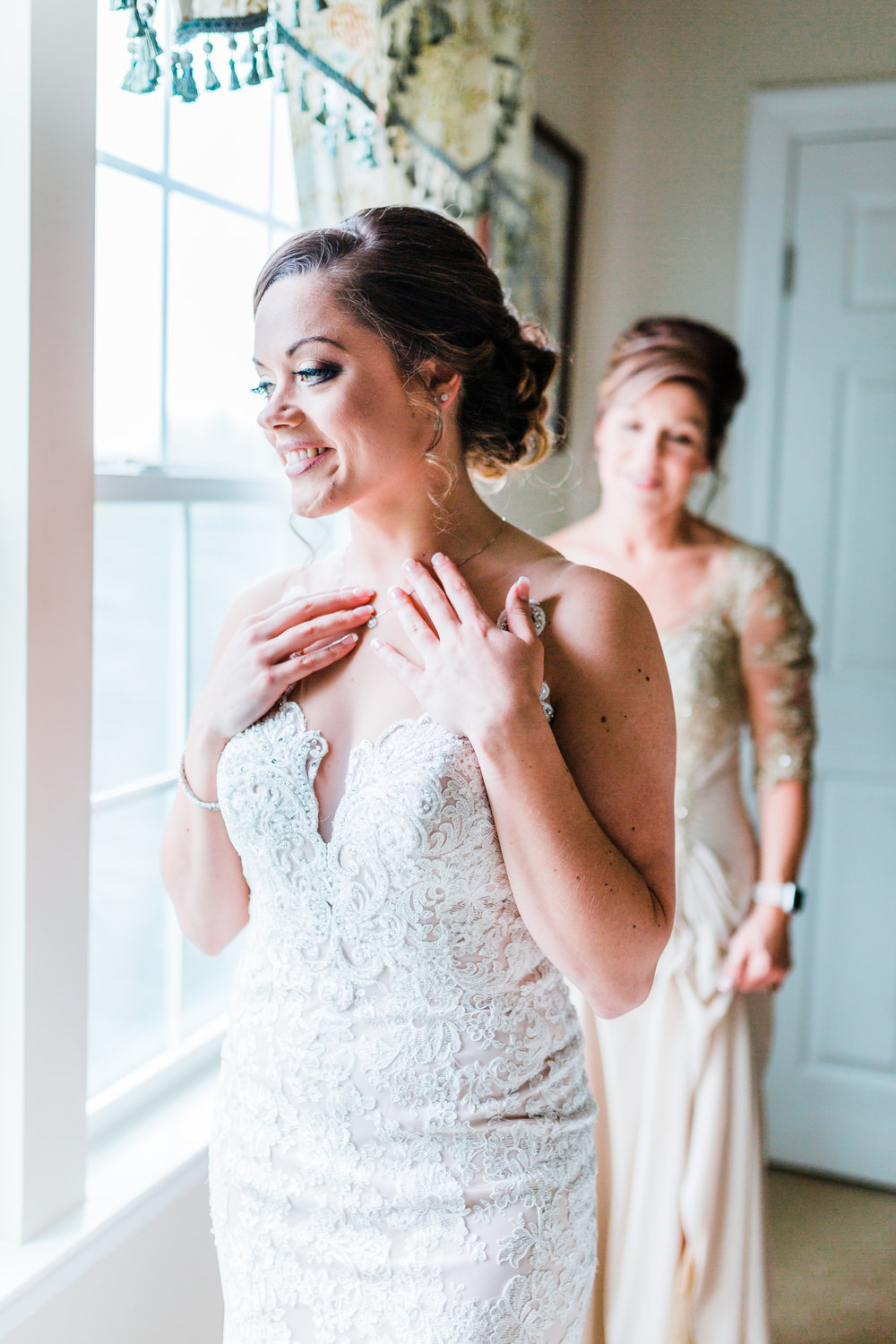 bride finishing touches in carroll county md wedding